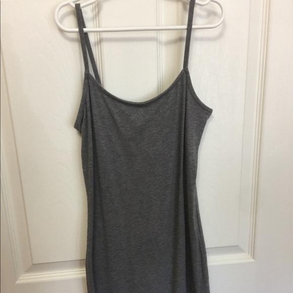 Grey, spaghetti strap mini dress